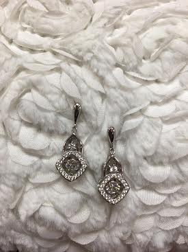 "Cubic Zirconia ""Dancing Diamonds"" Sterling Silver Drop Square Earrings"