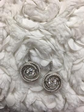 "Cubic Zirconia ""Dancing Diamonds"" Sterling Round Earrings"