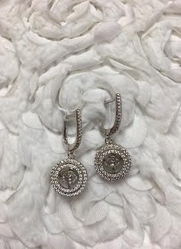 "Cubic Zirconia ""Dancing Diamonds"" Sterling Circle Earrings"