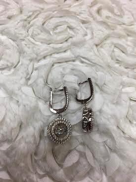 "Cubic Zirconia ""Dancing Diamonds"" Sterling Circle Earrings"
