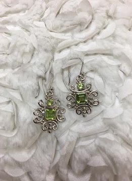 Italian Sterling Silver Square Peridot Earrings