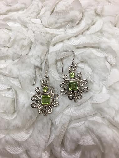 Italian Sterling Silver Square Peridot Earrings