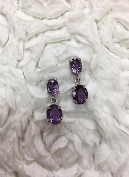 Italian Sterling Silver Oval Amethyst Earrings