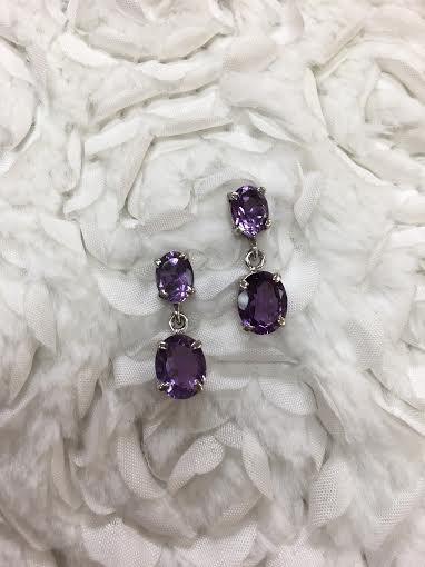 Italian Sterling Silver Oval Amethyst Earrings