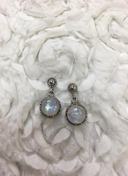 Italian Sterling Silver Round Moonstone Earrings