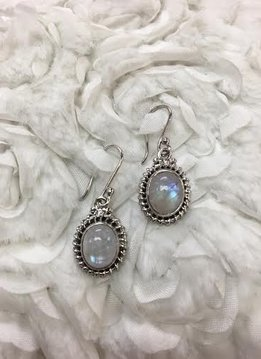 Italian Sterling Silver Large Oval Moonstone Earrings