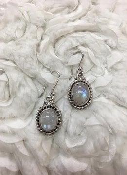 Italian Sterling Silver Large Oval Moonstone Earrings