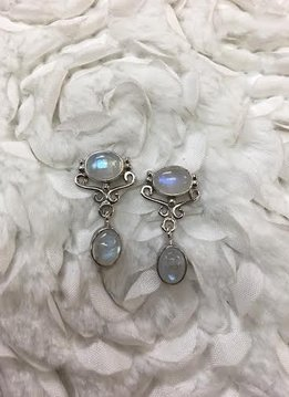Italian Sterling Silver with Oval Moonstones Earrings