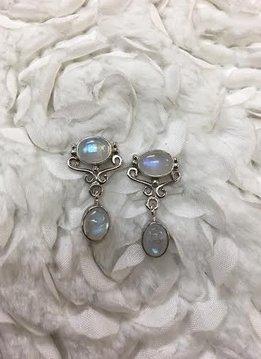 Italian Sterling Silver with Oval Moonstones Earrings