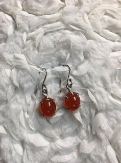 Italian Sterling Silver Oval Cornelian Earrings
