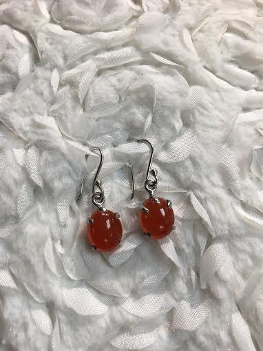 Italian Sterling Silver Oval Cornelian Earrings