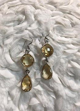 Italian Sterling Silver Citrine Dangle Earrings