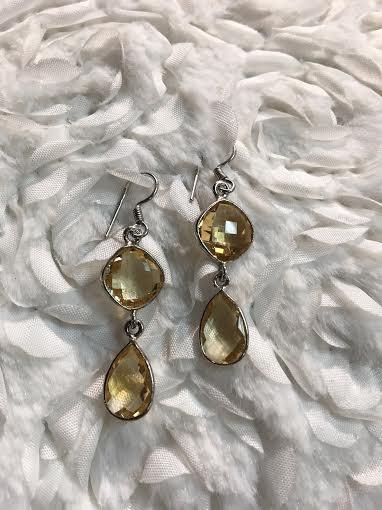 Italian Sterling Silver Citrine Dangle Earrings