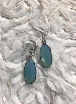 Italian Sterling Silver Faceted Sky Blue Topaz Earrings