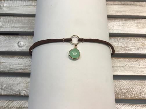 Brown Choker with a Mint Pendant