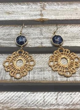 Gold Dangle Earrings with a Blue Stone