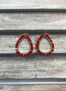 Red Beaded Tear Drop Earrings