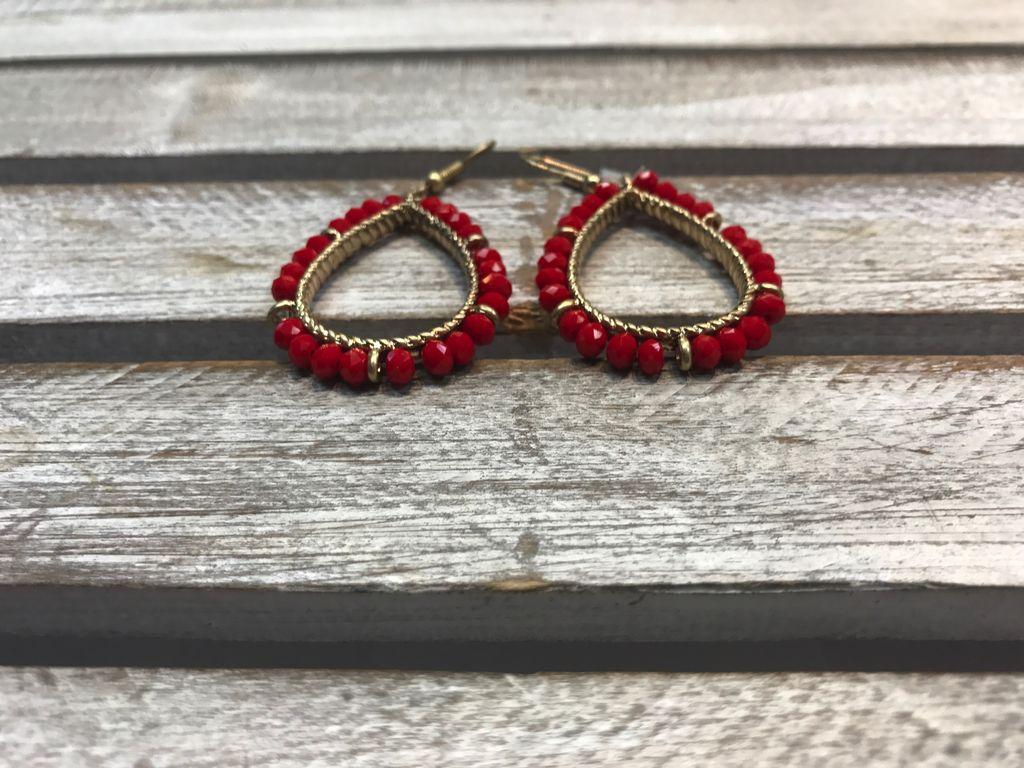 Red Beaded Tear Drop Earrings