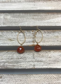 Gold Oval Earrings with Dangling Orange Stone