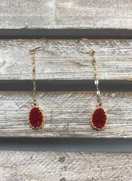 Red Druzy Threader Earrings