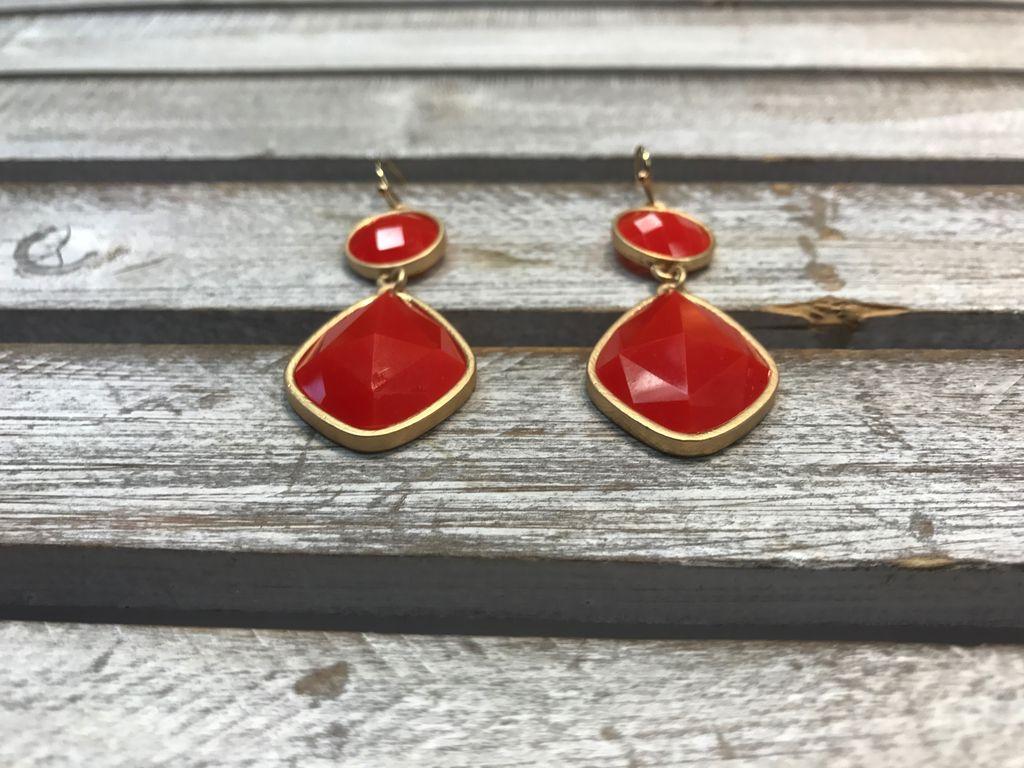 Orange Dangling Earrings