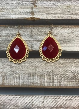 Red Tear Drop Earrings
