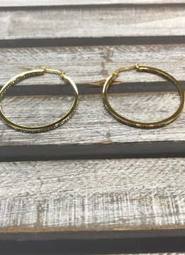 Stainless Steel Gold Hoops with Rhinestones Surrounding