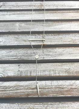 Silver Necklace with a Bar that Forms a Triangle