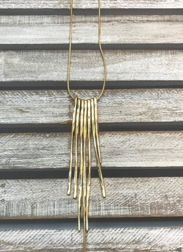 Gold Necklace with Long Bars Hanging Down