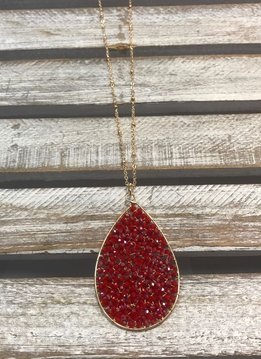 Red Beaded Tear Drop Necklace