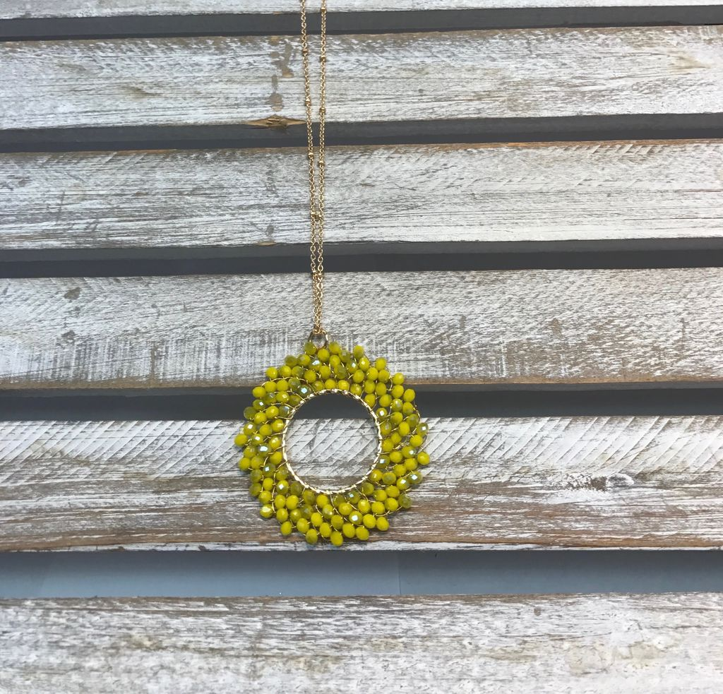 Yellow Beaded Circle Halo Necklace