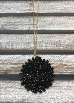 Black Beaded Circle Long Necklace