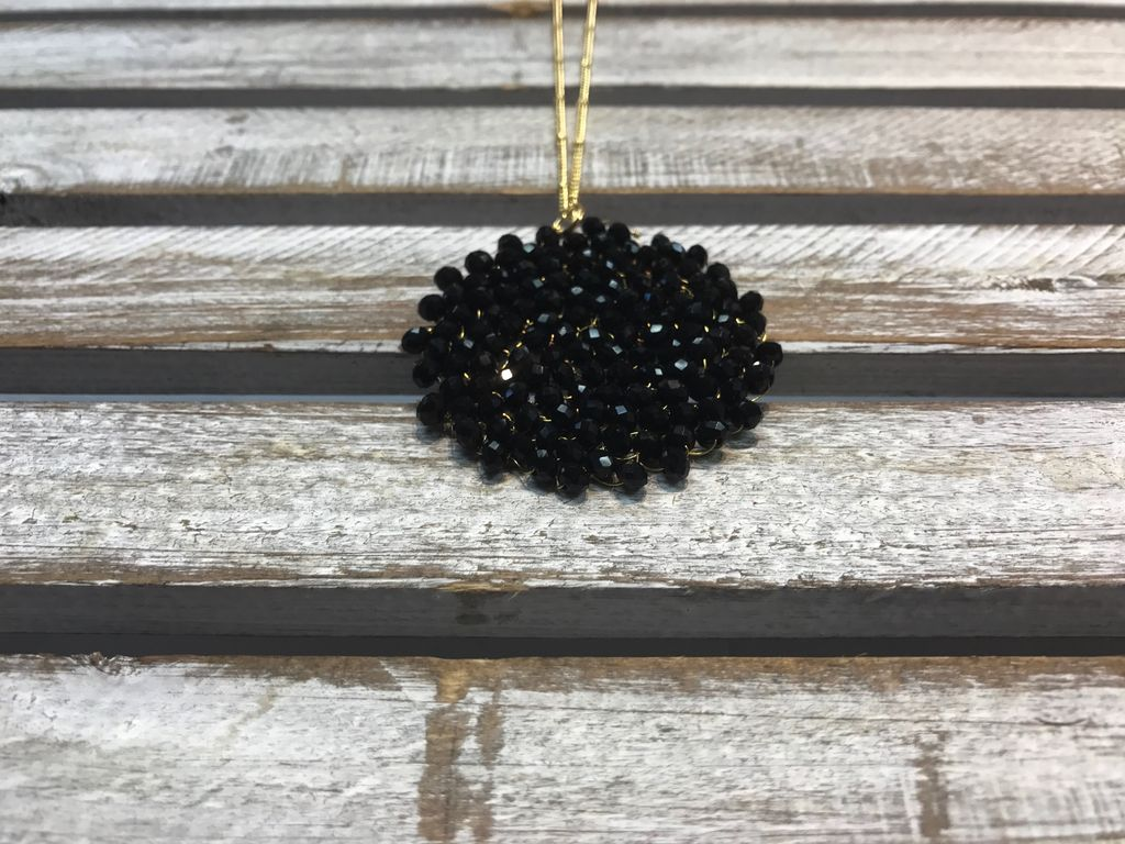 Black Beaded Circle Long Necklace
