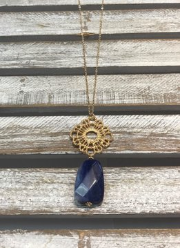 Trendy Gold Necklace with Blue Stone Hanging