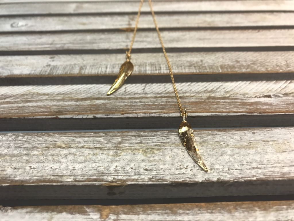 Long Gold Necklace with Feathers