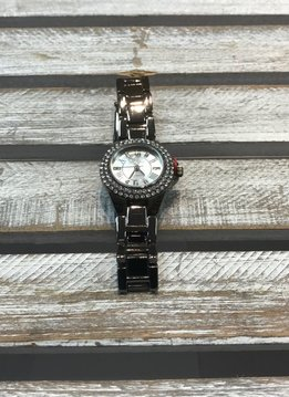 Dark Silver Watch with Rhinestones Around It