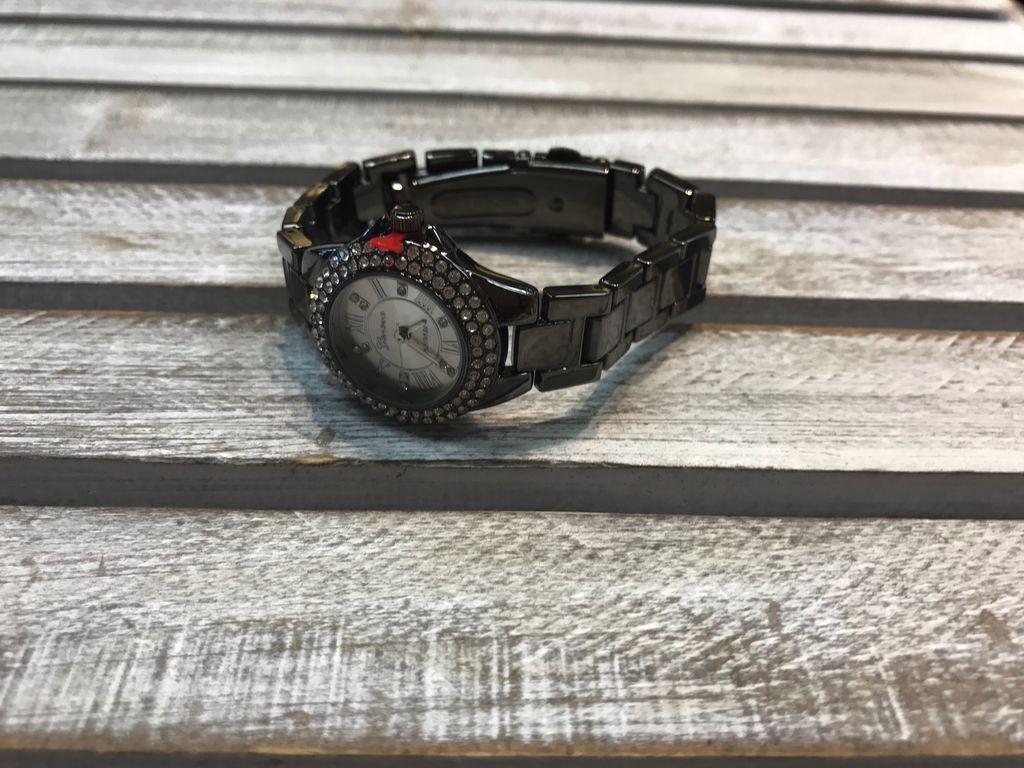 Dark Silver Stainless Steel Watch with Rhinestones