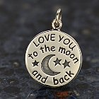 I Love You to the Moon and Back Sterling Silver Charm
