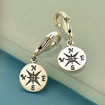 Compass Sterling Silver Charm with Clasp