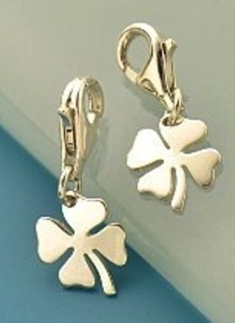 Four Leaf Clover Sterling Silver Charm with Clasp