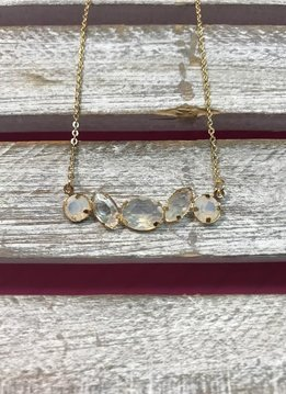 Gold Necklace with White and Clear Rhinestone Pendant