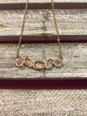 Gold Necklace with Light Pink Rhinestone Pendant