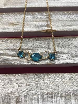 Gold Necklace with Light Blue  and Clear Rhinestone Pendant