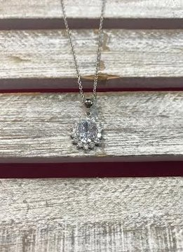 Silver Necklace with Oval Rhinestone and Halo