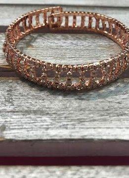 Rose Gold Rhinestone Cuff Bracelet