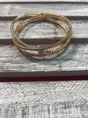 Gold Cuff Bracelet with Clear Rhinestones