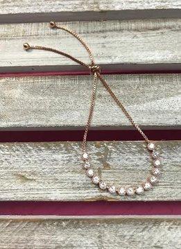 Rose Gold Adjustable Bracelet with Cubic Zirconia Stones