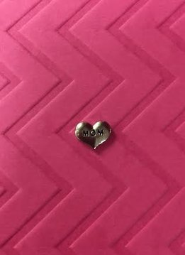 Mom in SIlver Heart Floating Charm