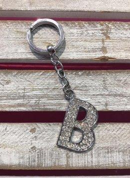 Silver Initial Rhinestone Keychain B