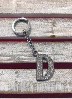 Silver Initial Rhinestone Keychain D
